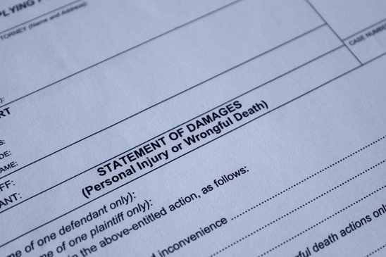 filing statement of damages for personal injury, wrongful death.